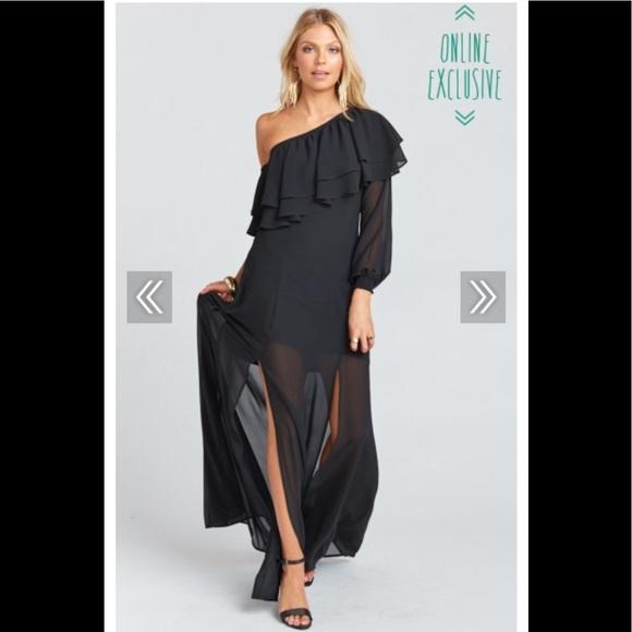 Show Me Your Mumu Dresses Sale New Emma Ruffle Maxi Dress Black